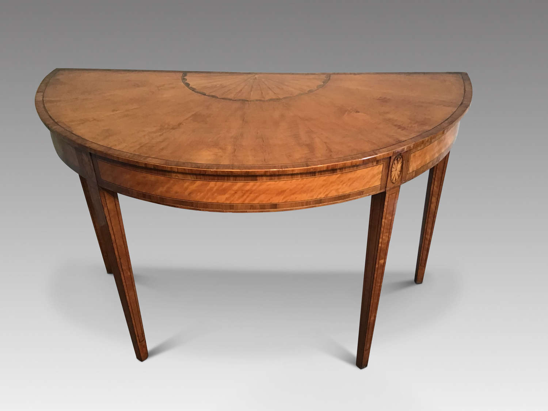 Satinwood Demi Lune Table.