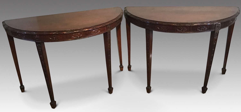 Pair Demi Lune Tables