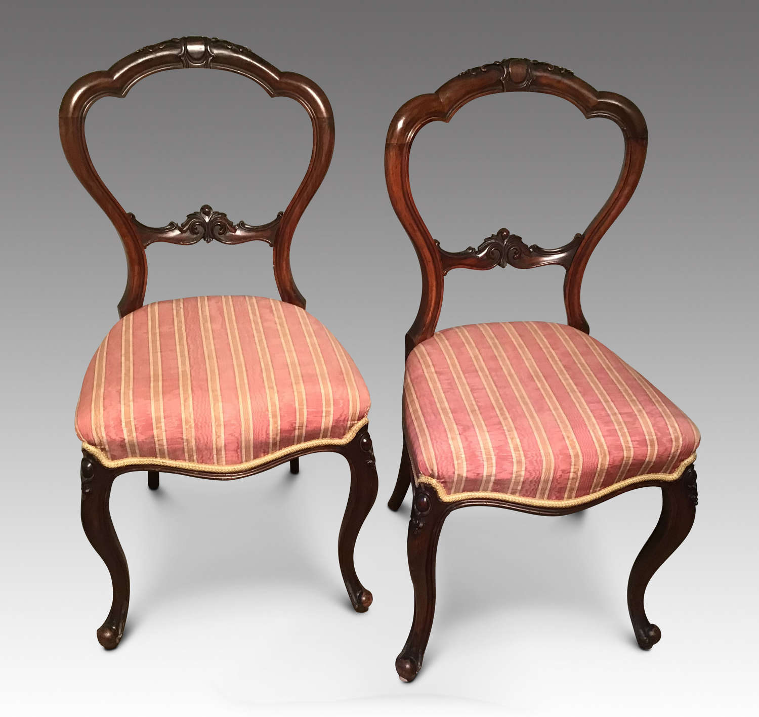 Pair balloon back chairs