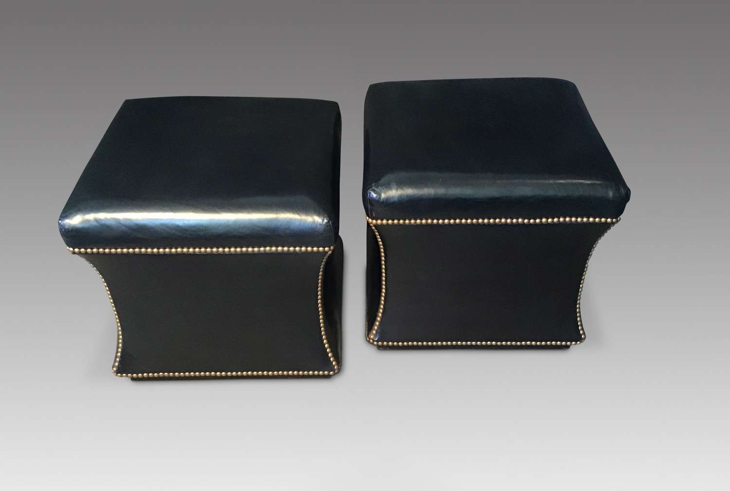 Pair Leather Stools.