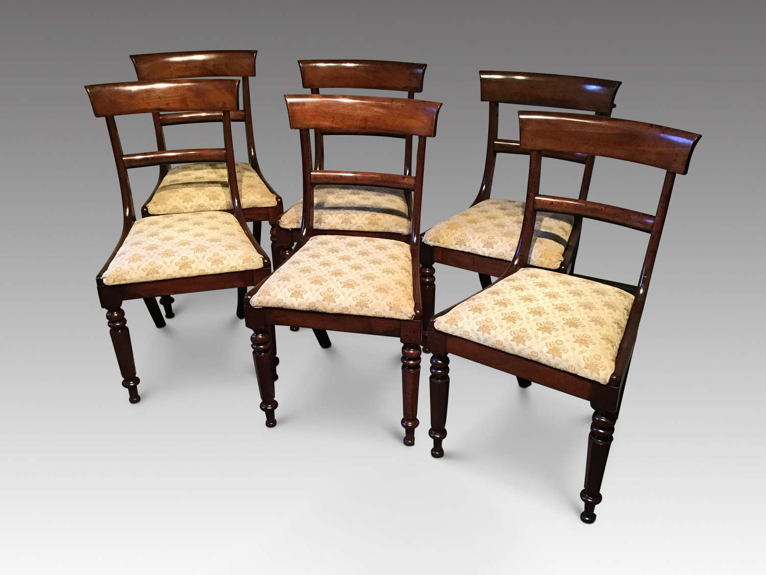 Set of six antique William IV mahogany dining chairs
