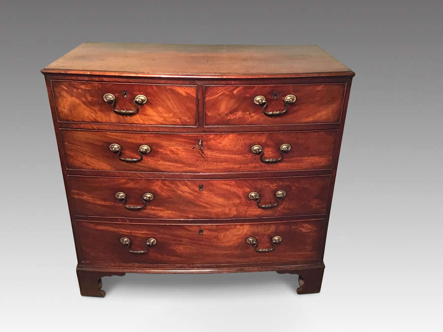 Georgian mahogany bow front chest of drawers.