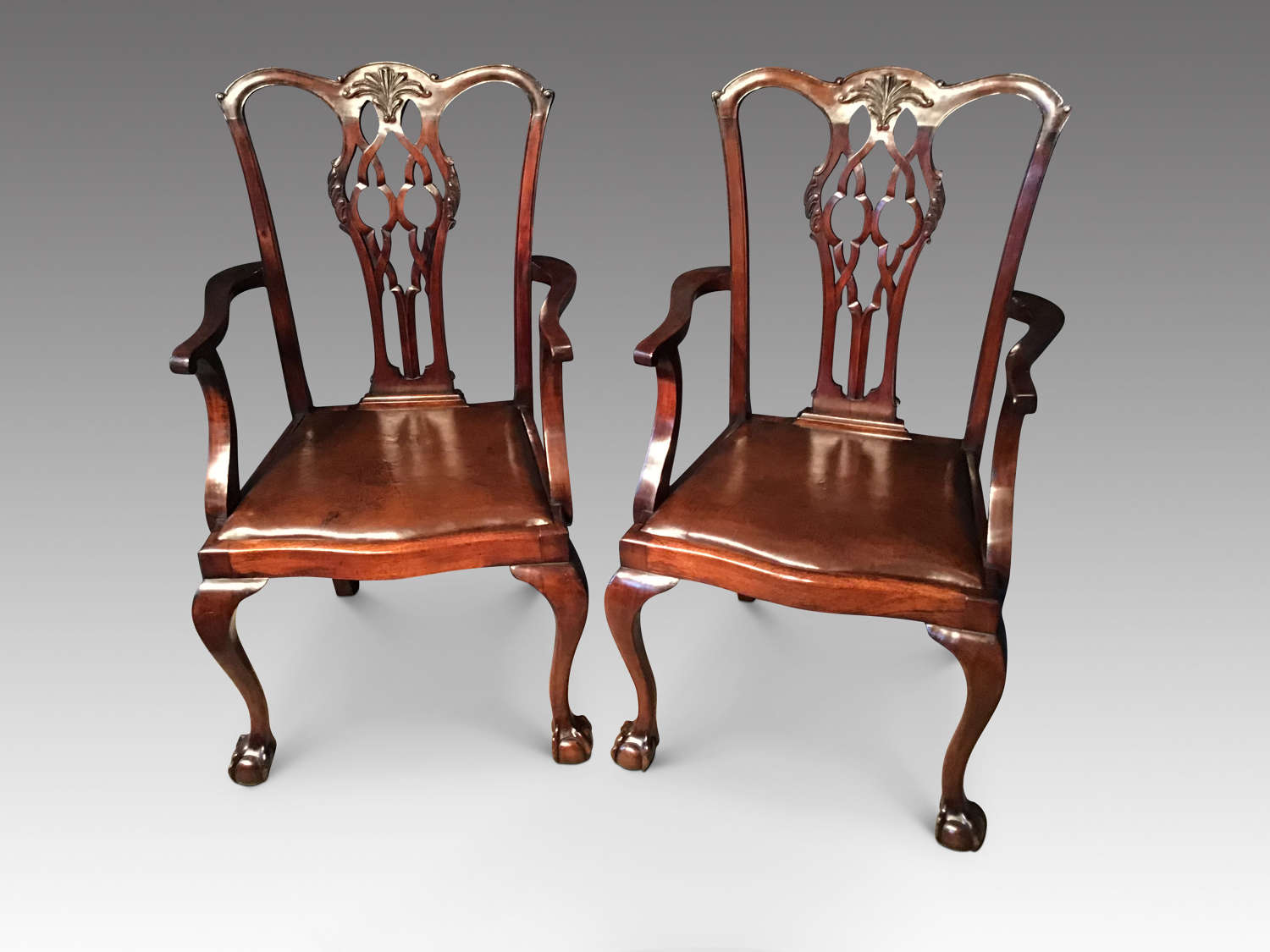 Pair of antique mahogany elbow Chairs