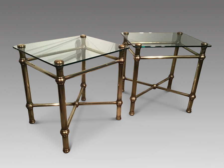 Pair of brass tables