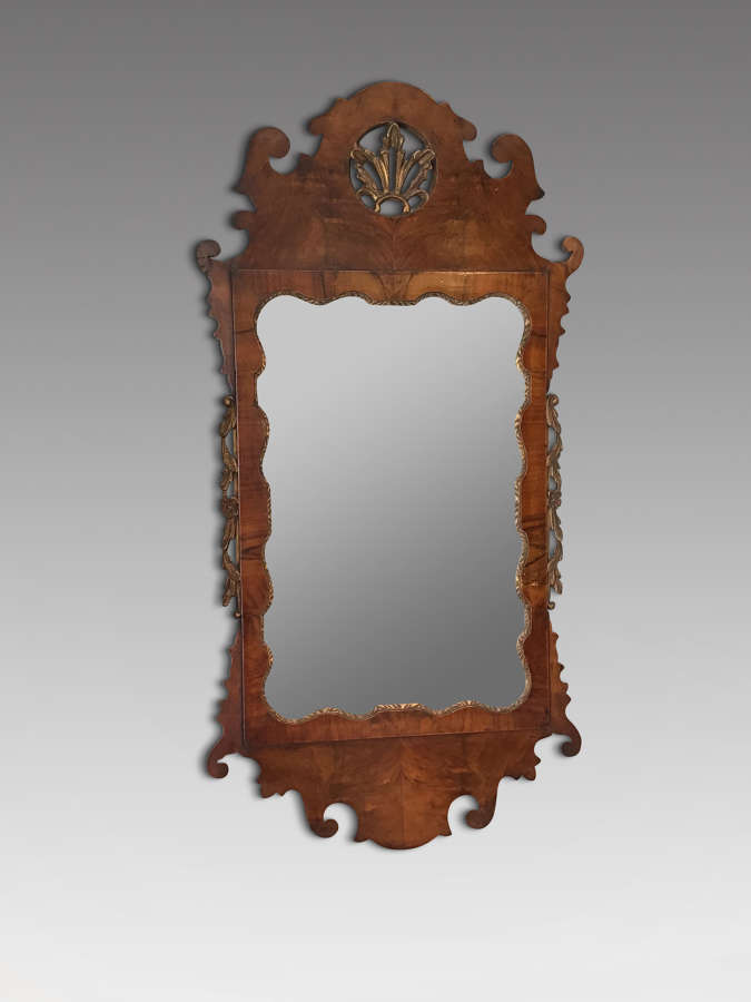 Antique walnut wall mirror