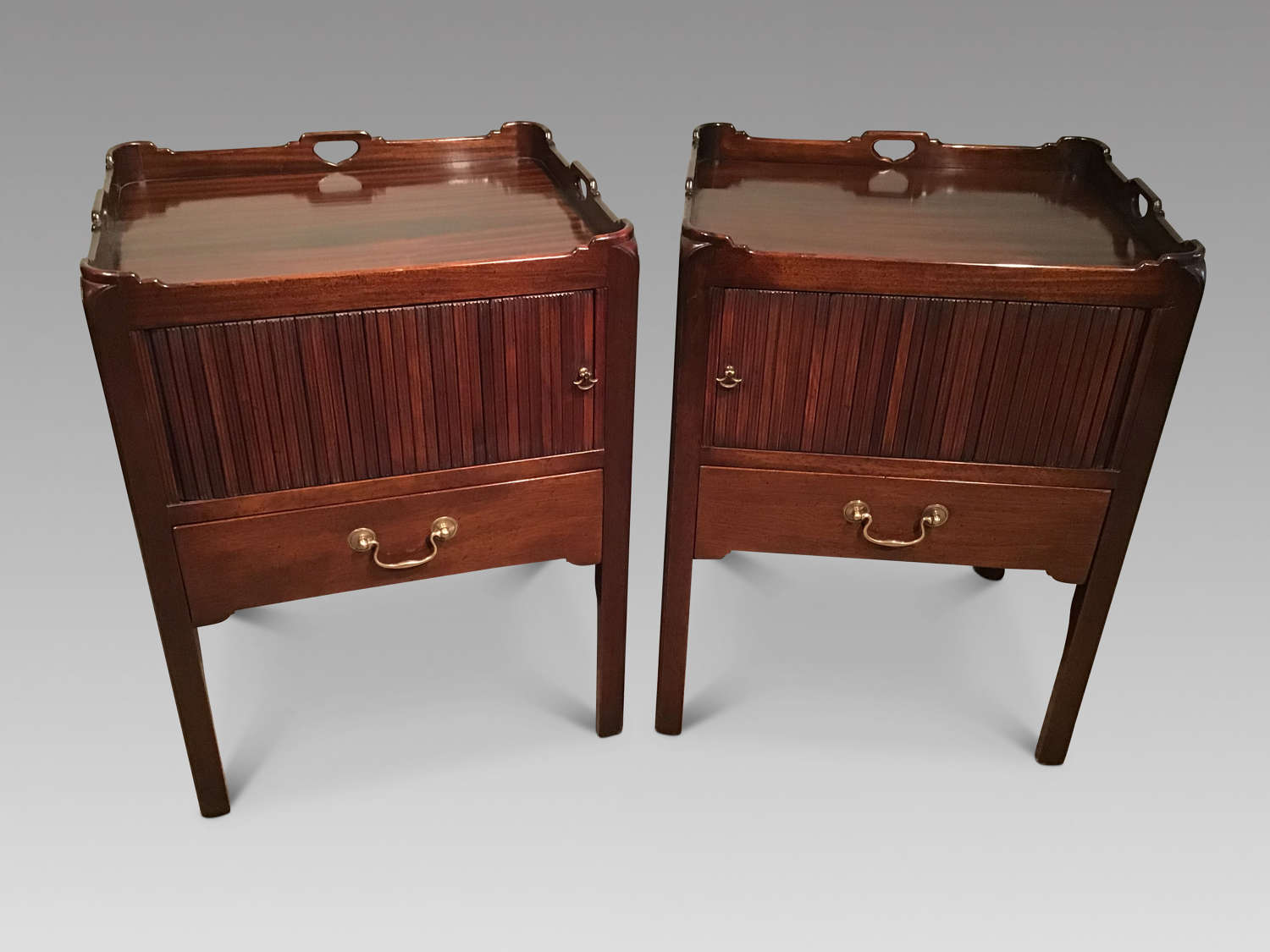 Pair of Georgian style mahogany bedside cabinets
