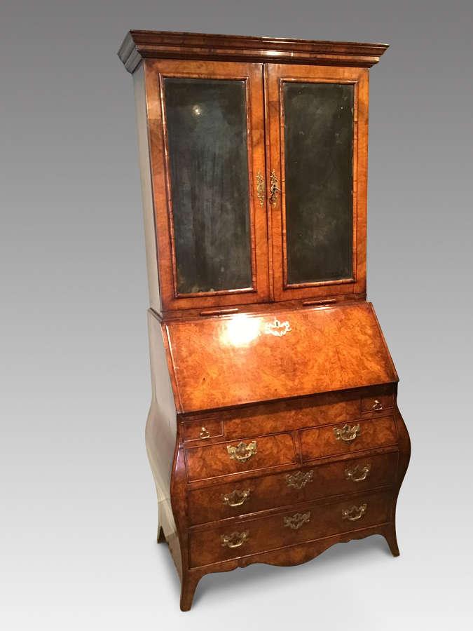 Georgian walnut bureau bookcase