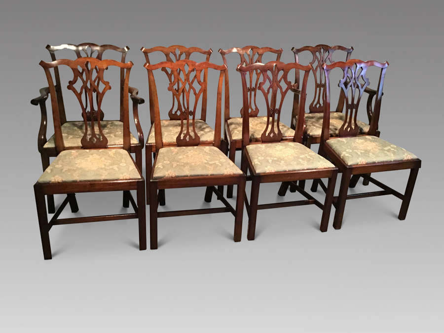 Set of eight antique mahogany dining chairs