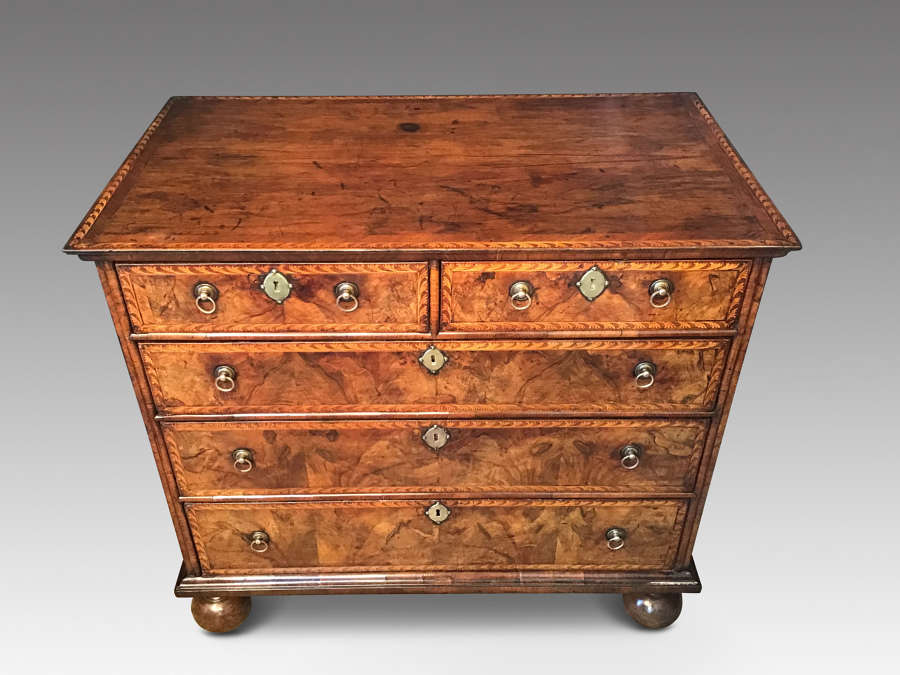 Antique walnut and marquetry chest of drawers