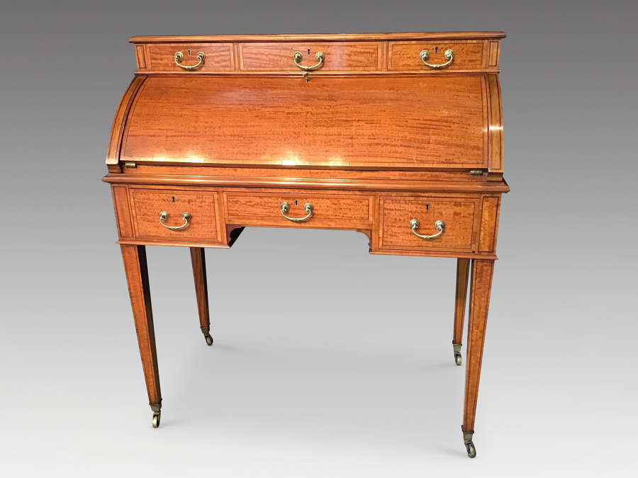 Late Victorian satinwood desk