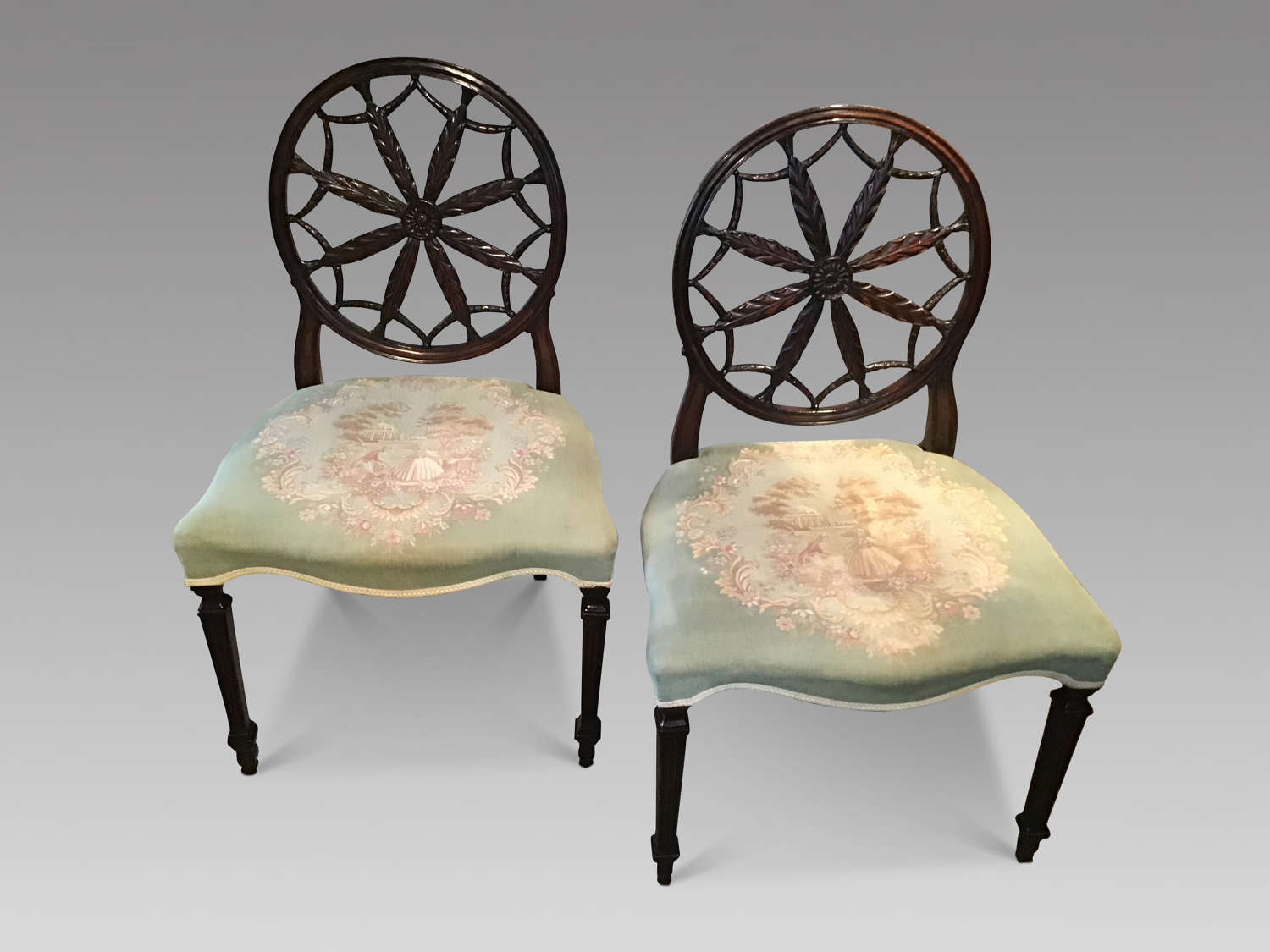 Pair of antique 19th century sidechairs.