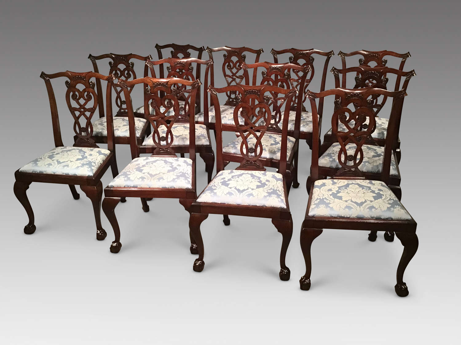 Set of 12 antique mahogany dining chairs