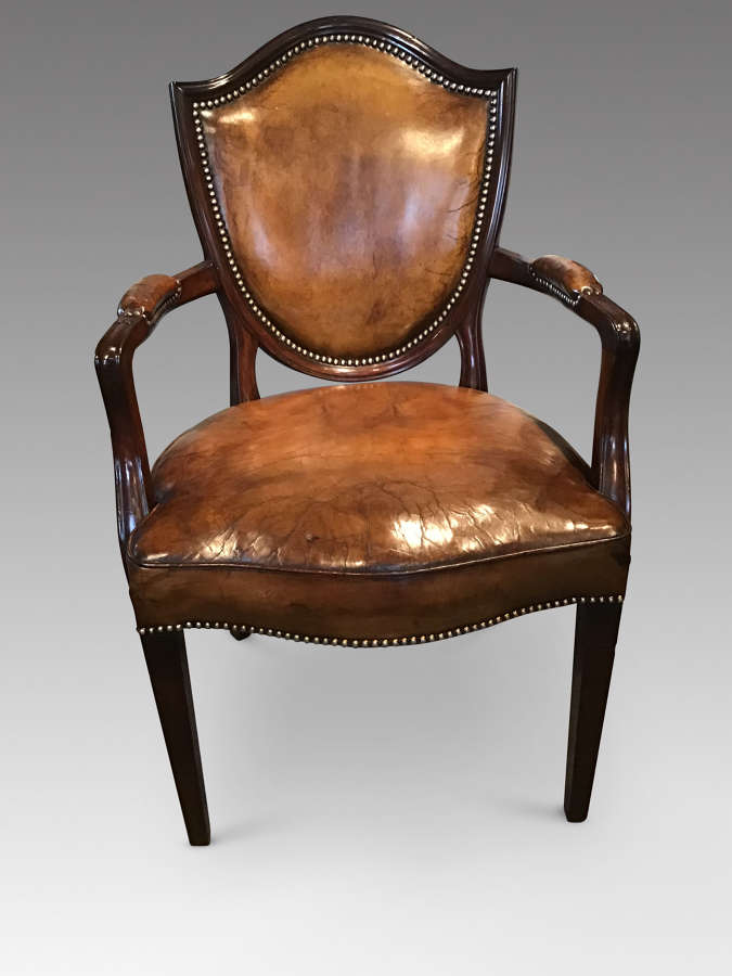Antique mahogany and leather chair