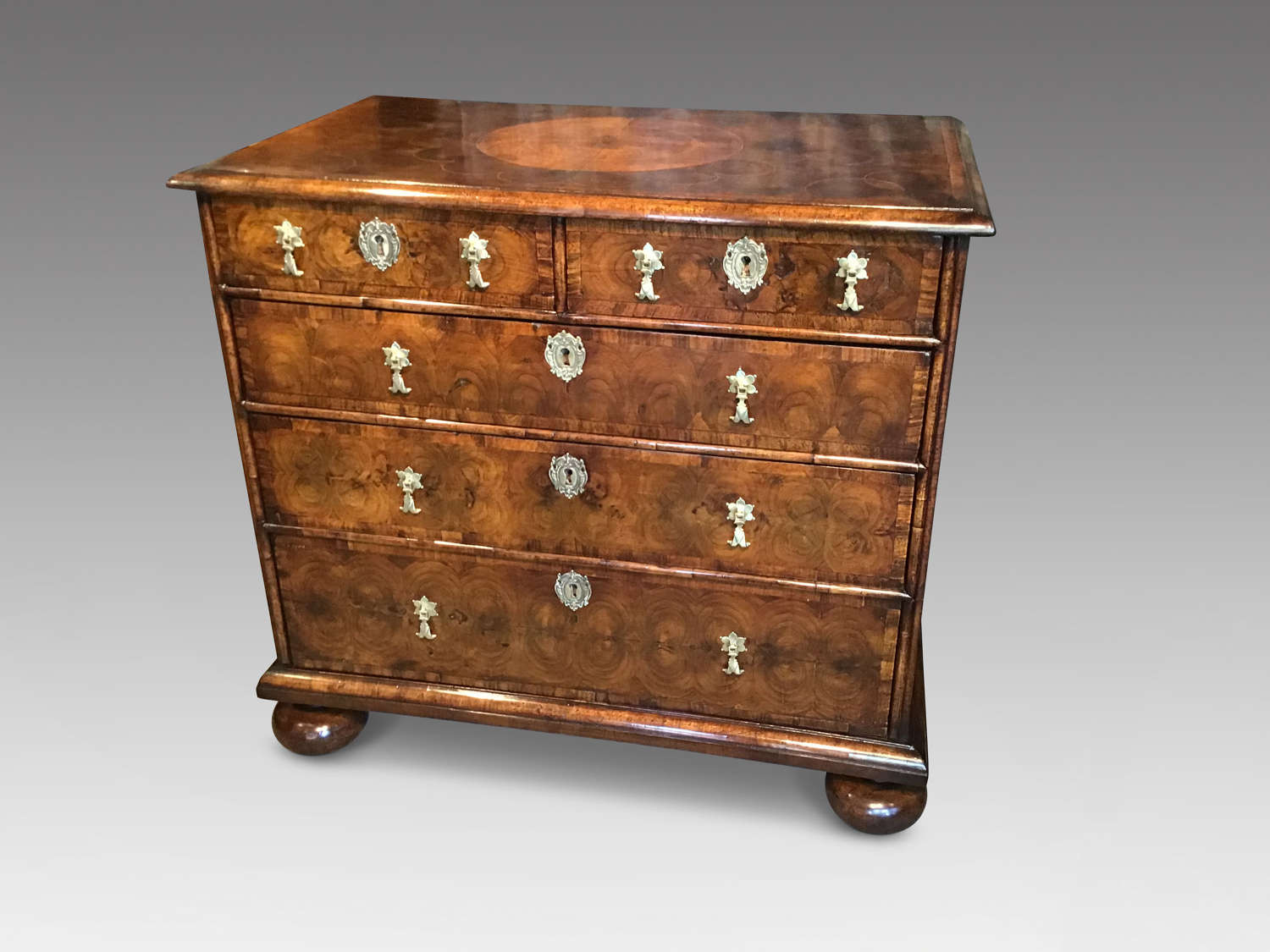 Antique William and Mary oyster veneered chest