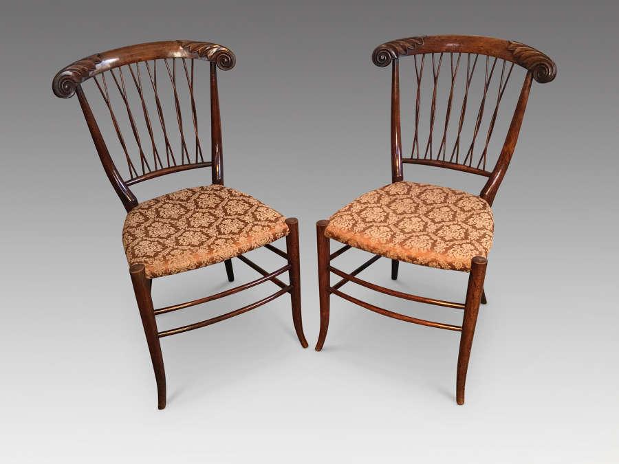 Pair of antique sidechairs.