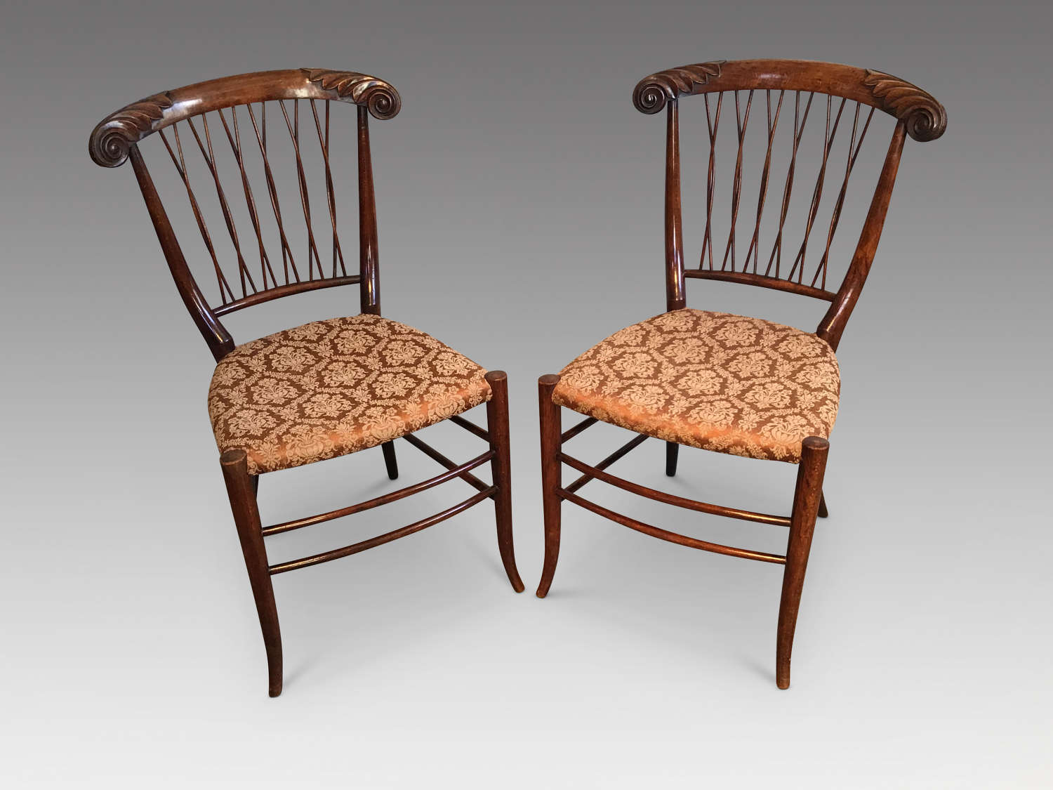 Pair of antique sidechairs.