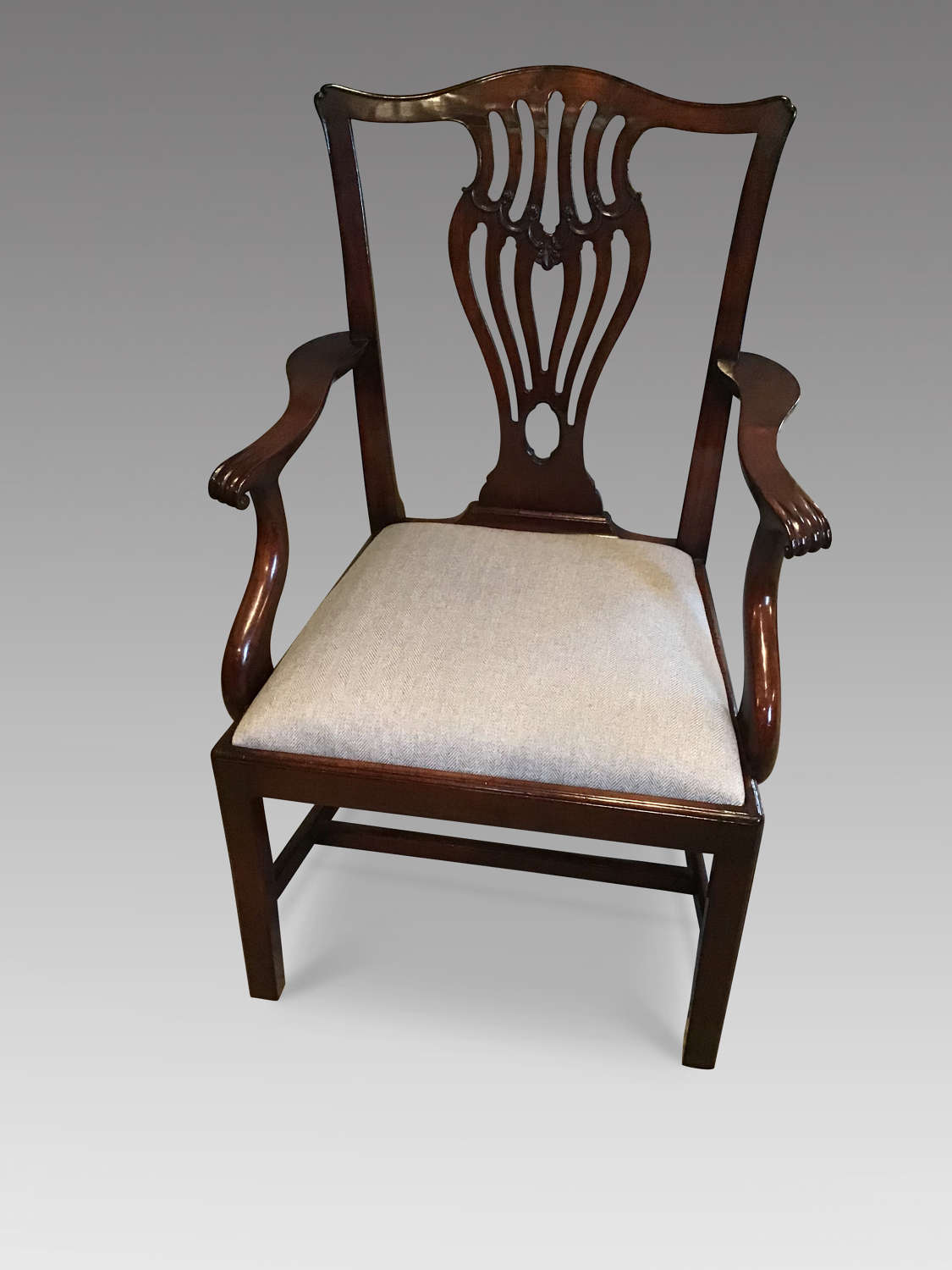 Antique mahogany elbow chair