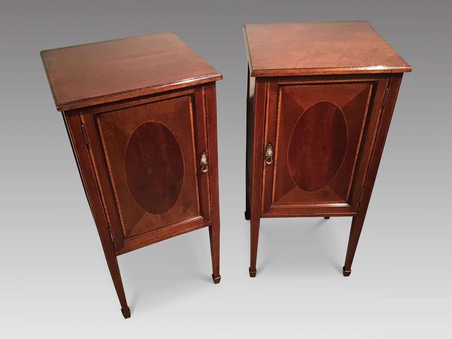 Pair of antique mahogany bedside cabinets