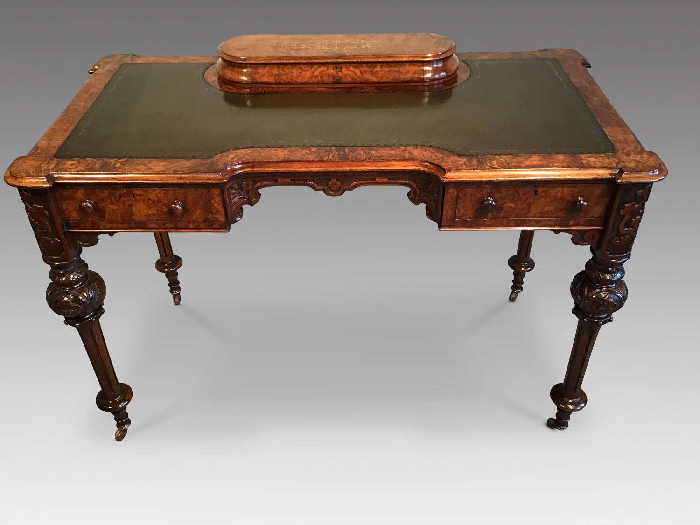 Victorian burr walnut writing table.