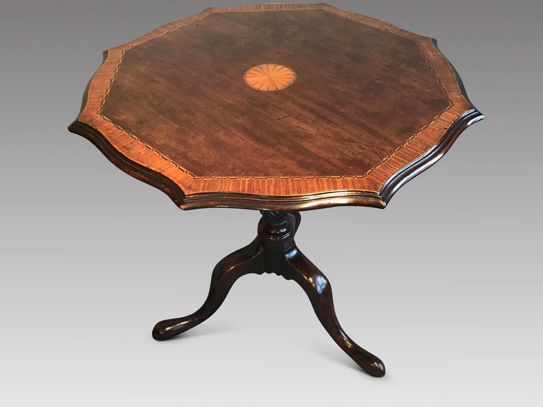 Mahogany and oak tripod table