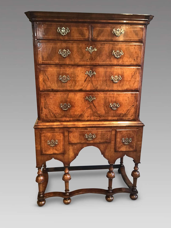 Antique walnut chest on stand