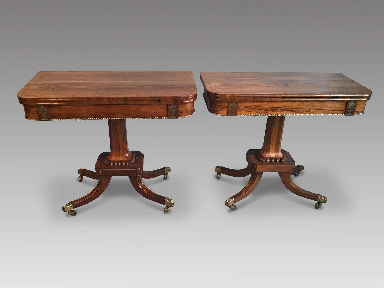 Pair of regency rosewood card tables