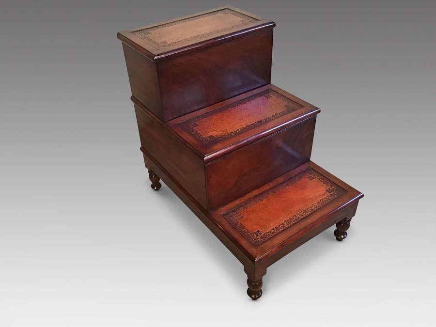 Antique mahogany bed steps.