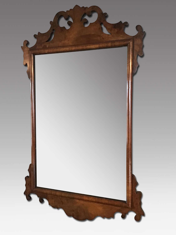 Walnut fret frame mirror