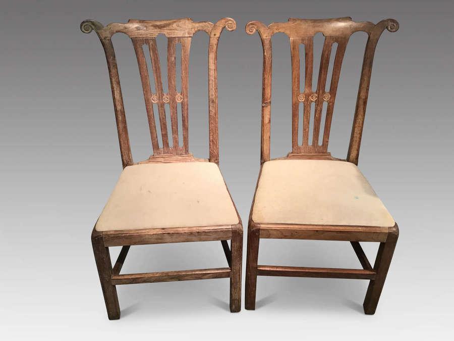 Pair of Georgian walnut sidechairs