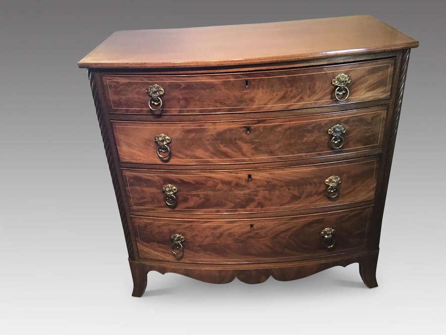 Georgian mahogany bow front chest
