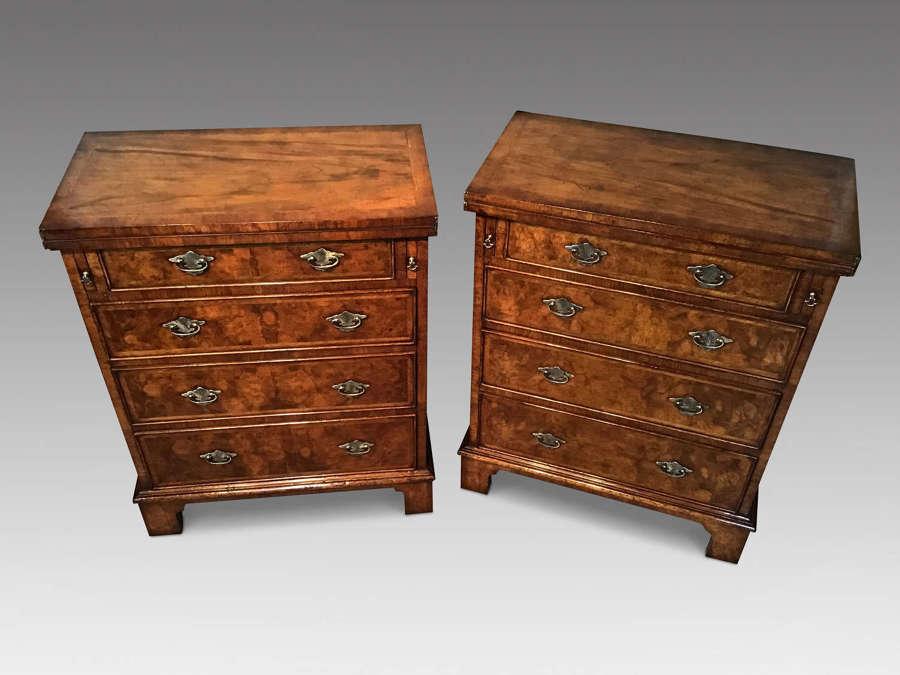 Pair walnut batchelors chests