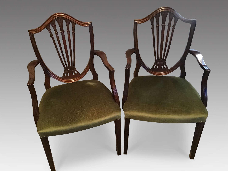 Pair mahogany elbow chairs
