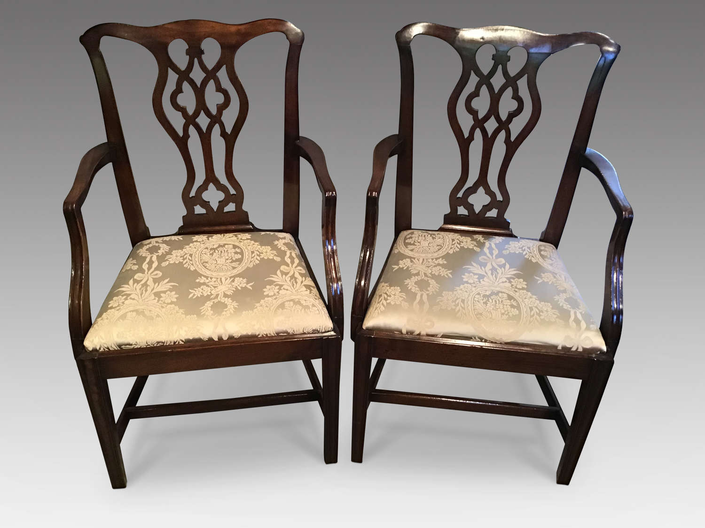 Pair of Georgian mahogany elbow chairs