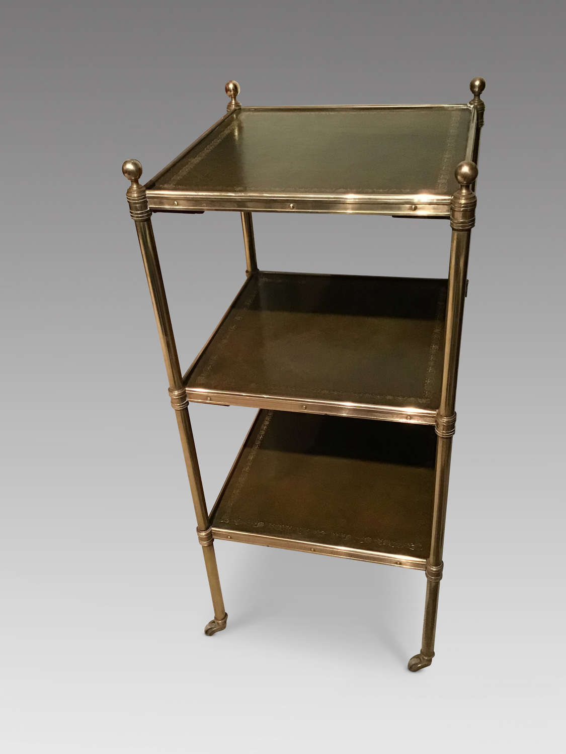 Brass and leather etagere