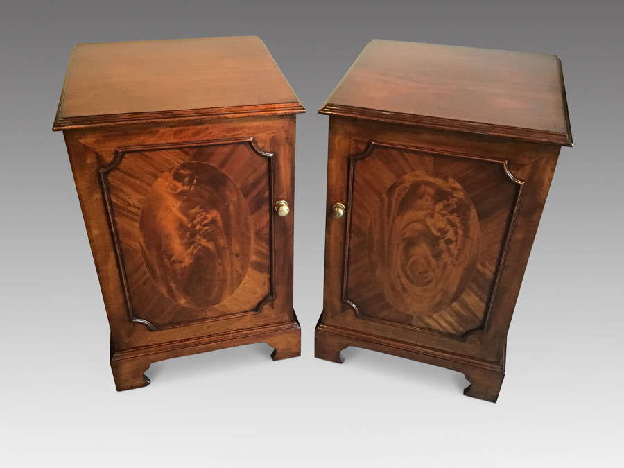 Pair antique mahogany bedside cabinets