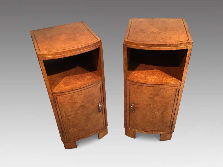 Pair of burr walnut bedside cabinets