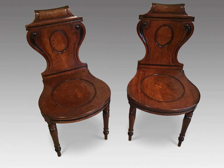 Pair regency hall chairs